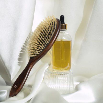 brosse a cheveux et huile de coco